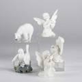 American and european porcelain three boehm angels one copenhagen polar bear and double bird figure tallest 5 12