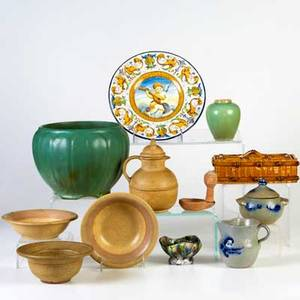 Pottery grouping approx thirteen pieces faience charger jugtown ware creamer and sugar decorated with blue salt glaze etc largest 10