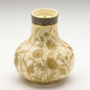 Faience lidded ceramic vase with gilt and painted daisies late 19th c stamped faience 409420 7 x 5 14 dia
