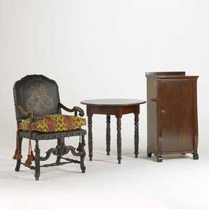 Carved frame armchair etc three pieces 19th20th c leather back together with mahogany sheet music cabinet and round empire table cabinet 40 x 16 x 20