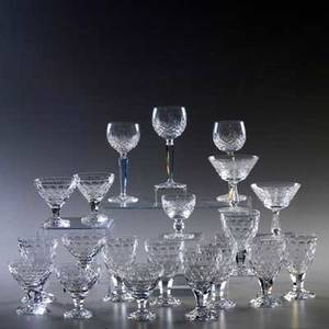 Crystal stemware twenty pieces waterford three wine glasses and two martini glasses orrefors eight optic goblets and six cocktail glasses all marked tallest 7 12