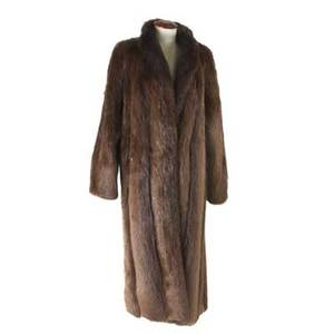 Beaver fur coat supple beaver fur calflength swing coat with tuxedo collar hidden hook closure and hidden inner pocket with original tags and invoice approx size 1012 48 long