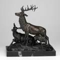 After pierrejules mene french 18101879 bronze of an elk group on marble base 20th c signed 15 14 x 7 x 16