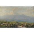 Ecuadorian landscape 20th c oil on canvas of panoramic scene with volcano c 1925 framed illegibly signed 20 x 30 provenance by inheritance from gonzalo segundo crdova y rivera july 15