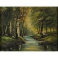 American landscape 20th c oil on canvas of a woodland scene framed signed hall 16 x 20