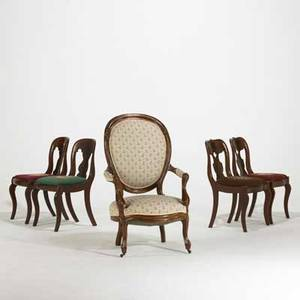 Victorian chair grouping five pieces 20th c set of four mahogany framed side chairs with needlepoint seats together with balloon back arm chair ballon chair 42 x 26 x 30