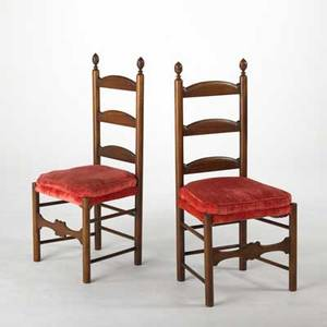 Pair of ladder back side chairs velvet cushions 19th c each 44 x 20 x 17