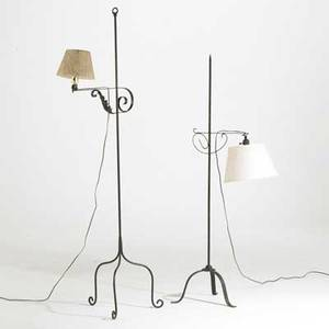Wrought iron bridge lamps two pieces with shades 20th c taller 66 12 x 20 x 17