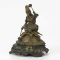 Figural dinner bell cast bronze in the form of an indian maiden seated on foliage ca 1910 7 12