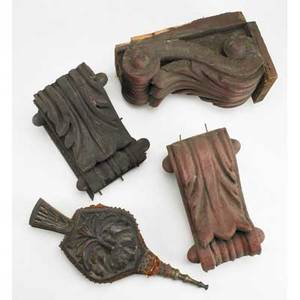 Architectural and decorative elements seven pieces three carved painted wood corbels tibetan frieze fragments etc largest 24 x 29