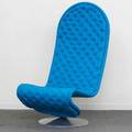 Verner panton fritz hansen system 123 lounge chair denmark 1990s upholstery and aluminum unmarked 43 x 23 12 x 32