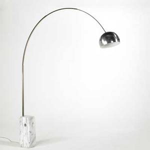 Achille and pier giacomo castiglioni flos arco floor lamp italy 1970s carrera marble brushed steel and polished and enameled aluminum as shown 96 x 92 x 12 12
