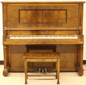 Figured Mahogany Player Piano Jesse French  Sons