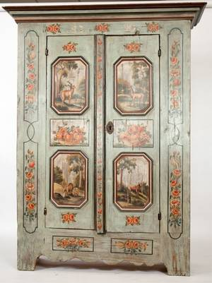 19th C Austrian HandPainted Armoire