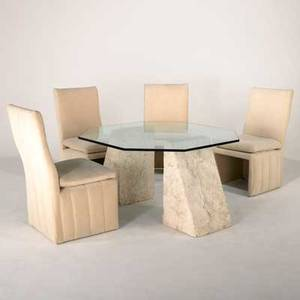Contemporary five pieces 1970s travertine and glass dining table together with four velvet upholstered dining chairs unmarked table 27 x 48 sq dining chairs 39 x 21 x 25