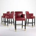 Donghia four bar stools leather lacquered wood and brass fabric labels 46 x 25 x 23 12