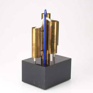 Peter hurd neon and brass sculpture on black lucite base 15
