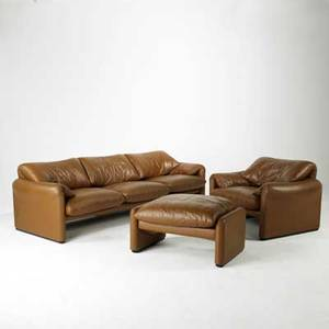 Vico magistretti cassina three pieces marilunga threeseat sofa and matching club chair with ottoman leather and plastic cassina labels sofa 28 x 95 x 34 club chair 28 x 40 x 34