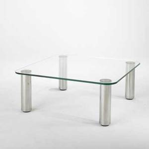 Marco zanuso coffee table with glass top and stainless steel legs unmarked 16 x 39 12 x 39 12