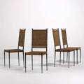 Italian modern set of four dining chairs 1950s iron and cane unmarked 40 x 16 x 19