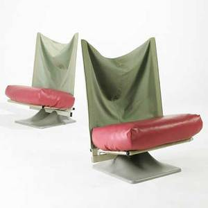 Archizoom associati cassina pair of lounge chairs italy 1980s canvas leather plastic and enameled metal embossed 42 x 30 x 27