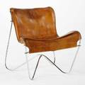 Max gottschalk lounge chair saddle leather and chromed tubular steel branded 29 x 26 x 28