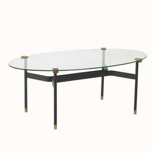 Mathieu mategot coffee table france 1960s brass glass and enameled metal unmarked 16 x 42 x 23