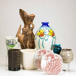 Modern ceramics nine pieces charles catteau for boch freres ovoid vase built for a lamp stig larsen square vase with geometric decoration two bjorn wiblad decorated plates villauris vase and fo