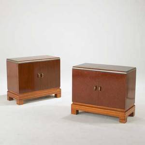 Art deco pair of nightstands likely european 1940s burlwood rosewood brass and chromed steel unmarked each 24 x 28 x 14