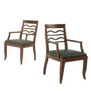Art deco pair of armchairs likely european 1940s mahogany and leather unmarked each 37 x 23 x 25