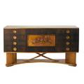 Italian art deco walnut sideboard with interior bar cabinet and carved center panel ca 1935 37 34 x 71 x 18 12