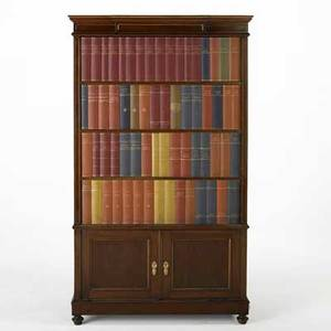 French art deco library cabinet mahogany with bookclad door and lower cabinet french ca 1920 69 12 x 41 x 21