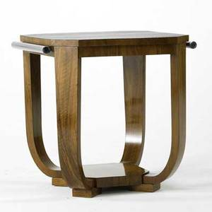 Art deco occasional table likely european 1930s burl wood and nickelplated brass unmarked 24 x 24 sq