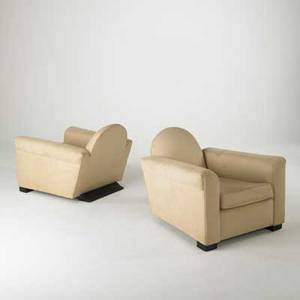 French art deco pair of paquebot club chairs ca 1930 ultrasuede and ebonized mahogany feet 30 x 32 x 41