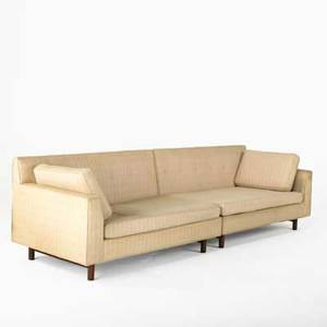 Edward wormley dunbar sectional sofa 1950s upholstery mahogany and leather fabric label each 29 x 54 x 33