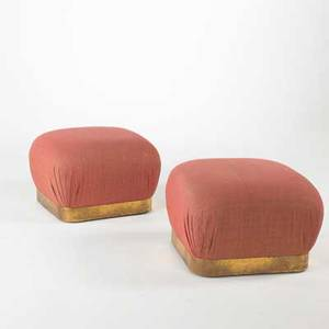 Karl springer pair of ottomans with concealed casters usa 1970s wool and brass unmarked each 17 12 x 25 sq