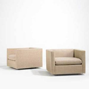 Charles pfister knoll international pair of club chairs 1970s wool and enameled metal knoll international label each 26 x 34 x 34