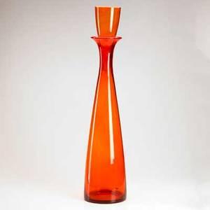 Blenko glass monumental tangerine glass floor decanter unmarked 35 12 x 8 dia