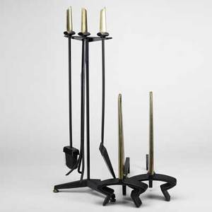 Donald deskey bennett sixpiece brass and blackenameled castiron and metal fireplace set andirons stamped bennett tongs stamped flextong stand raised des at p andirons 19 12 x 8 34 x 18