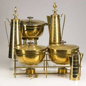 Tommi parzinger dorlyn five brass pieces tea set includes creamer tea and hot water kettle on stand together with double casserole set and a single covered serving dish tallest 20 14
