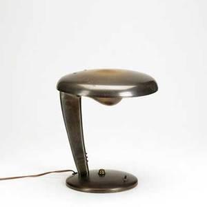 Norman bel geddes cobra bronze patinated metal desk lamp unmarked 12 12 x 11 78