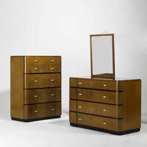 Art deco three pieces tall and wide dressers with hanging mirror likely american 1940s satinwood zincplated steel and enameled wood unmarked tallest 49 x 37 x 20