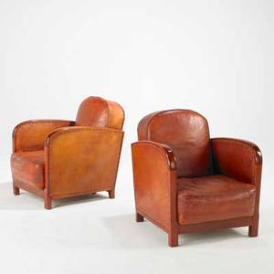 Art deco pair of club chairs usa 1930s beech leather and brass unmarked 31 x 26 x 33