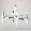 Gaetano sciolari chromed steel chandelier italy 1970s unmarked fixture only 13 12 x 21 sq