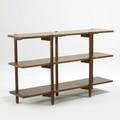 Style of greta grossman walnut shelving usa 1950s unmarked 29 12 x 48 x 12