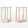 Grosfeld house pair of tiered side tables usa 1940s whitewashed mahogany and glass unmarked each 27 x 17 x 13 12