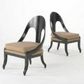 Modern pair of spoonback lounge chairs usa 1960s ebonized wood and silk unmarked each 35 x 22 x 26