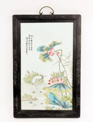 19th C Chinese Porcelain Plaque wPeonies