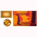 Rya rug grouping three pieces all with abstract design in various shades of orange yellow red and purple largest 139 x 97