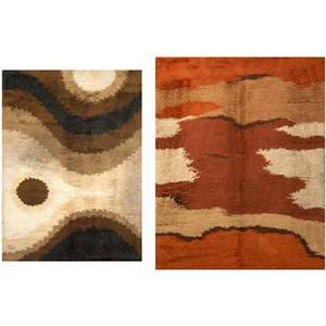 Rya rugs two rugs in shades of rust brown and cream  denmark 1970s larger 116 x 82